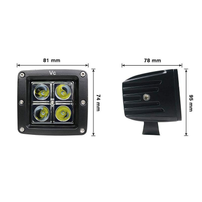 Proiector Offroad CREED, LED, 16W, 4LED, Patrat