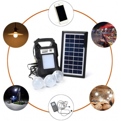 Kit solar GD8060 multifunctional, 3 becuri - GD Plus